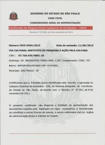 Certificado Cadastral Entidades - CRCE 001